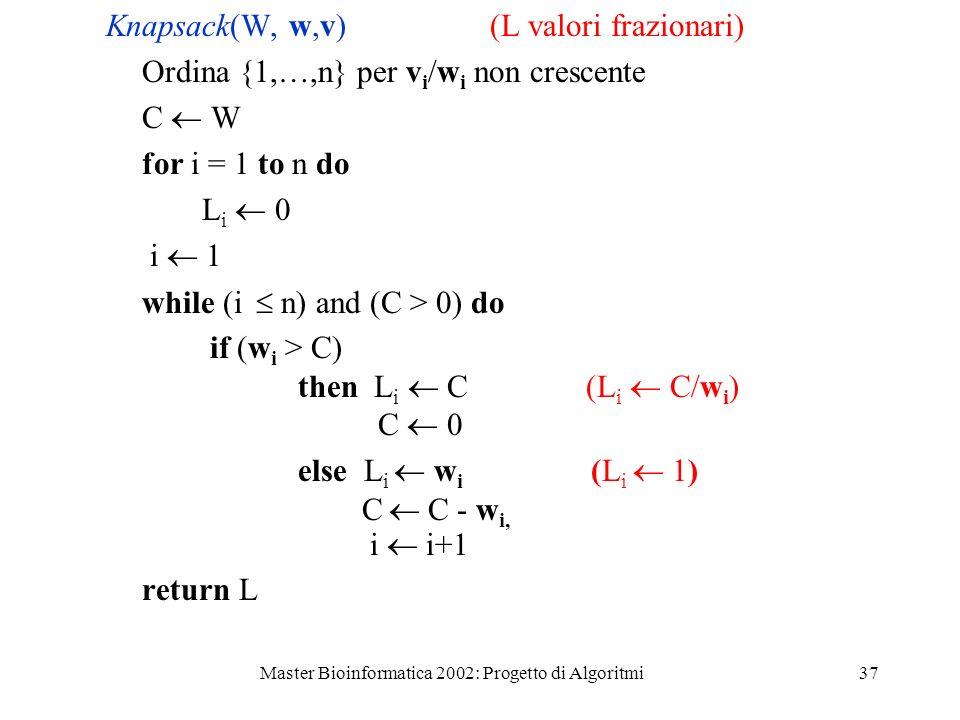 Master Bioinformatica 2002: Progetto di Algoritmi37 Knapsack(W, w,v) (L valori frazionari) Ordina {1,…,n} per v i /w i non crescente C W for i = 1 to