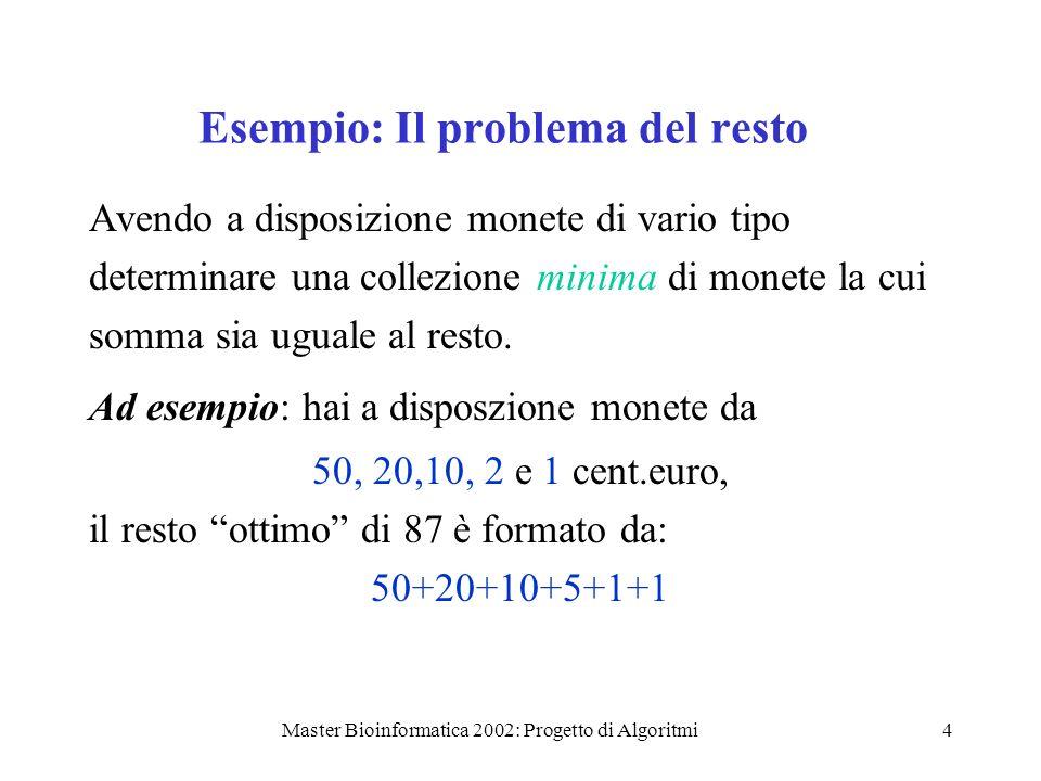 Master Bioinformatica 2002: Progetto di Algoritmi25 Formalmente provo che: siano i 1,…,i k le attività gia scelte dallalgoritmo con k 0, supponi che esista una soluzione ottima i cui primi k elementi (nellordine di f) sono i 1,…,i k e che lalgoritmo scelga al prossimo passo lattività i k+1 allora esiste una soluzione ottima i cui primi k+1 elementi i 1,…i k, i k+1.