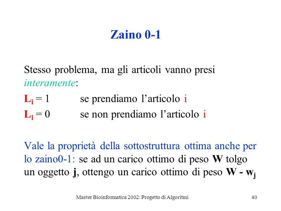 Master Bioinformatica 2002: Progetto di Algoritmi40 Zaino 0-1 Stesso problema, ma gli articoli vanno presi interamente: L i = 1 se prendiamo larticolo