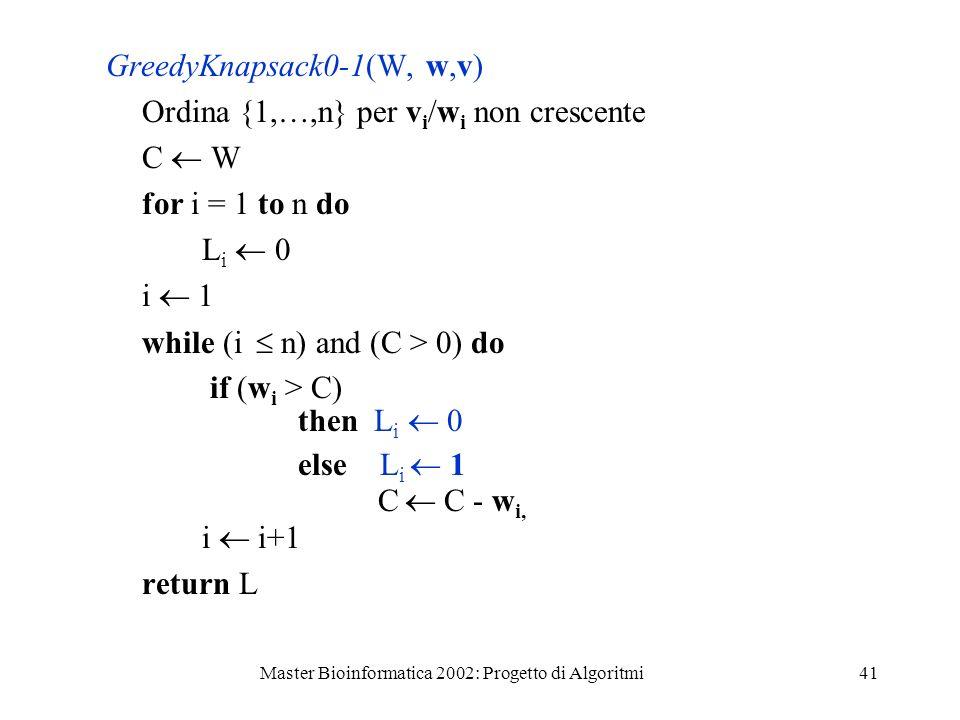 Master Bioinformatica 2002: Progetto di Algoritmi41 GreedyKnapsack0-1(W, w,v) Ordina {1,…,n} per v i /w i non crescente C W for i = 1 to n do L i 0 i