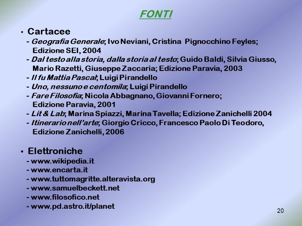 20 FONTI Cartacee - Geografia Generale; Ivo Neviani, Cristina Pignocchino Feyles; Edizione SEI, 2004 - Dal testo alla storia, dalla storia al testo; G