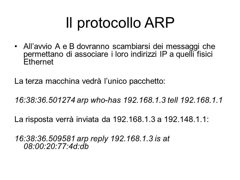 Il protocollo ARP Allavvio A e B dovranno scambiarsi dei messaggi che permettano di associare i loro indirizzi IP a quelli fisici Ethernet La terza ma