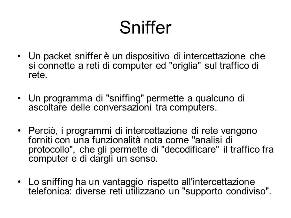 Sniffer ethernet Uno Sniffer Ethernet è un programma in grado di ascoltare tutto il traffico che attraversa un dispositivo di rete piuttosto che intercettare solo quello indirizzato ad essa.