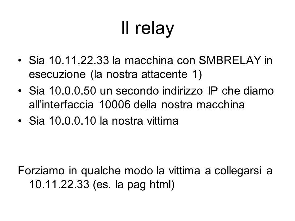Il relay Sia 10.11.22.33 la macchina con SMBRELAY in esecuzione (la nostra attacente 1) Sia 10.0.0.50 un secondo indirizzo IP che diamo allinterfaccia
