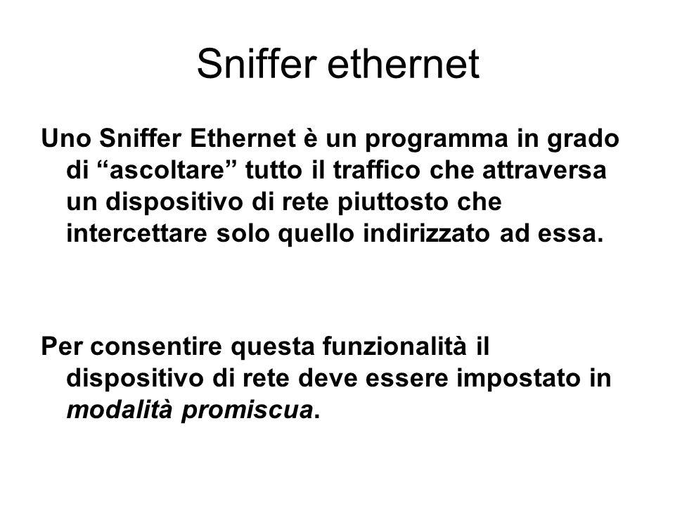 Sniffer ethernet Uno Sniffer Ethernet è un programma in grado di ascoltare tutto il traffico che attraversa un dispositivo di rete piuttosto che inter