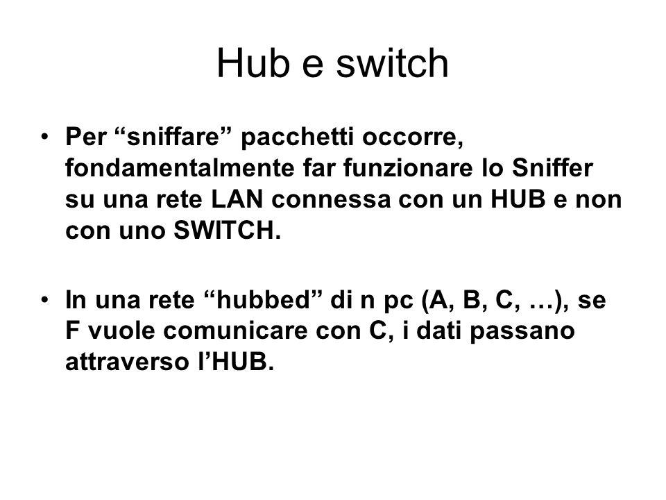 Hub e switch Per sniffare pacchetti occorre, fondamentalmente far funzionare lo Sniffer su una rete LAN connessa con un HUB e non con uno SWITCH. In u