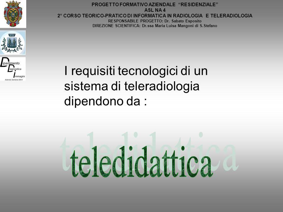 PROGETTO FORMATIVO AZIENDALE RESIDENZIALE ASL NA 4 2° CORSO TEORICO-PRATICO DI INFORMATICA IN RADIOLOGIA E TELERADIOLOGIA