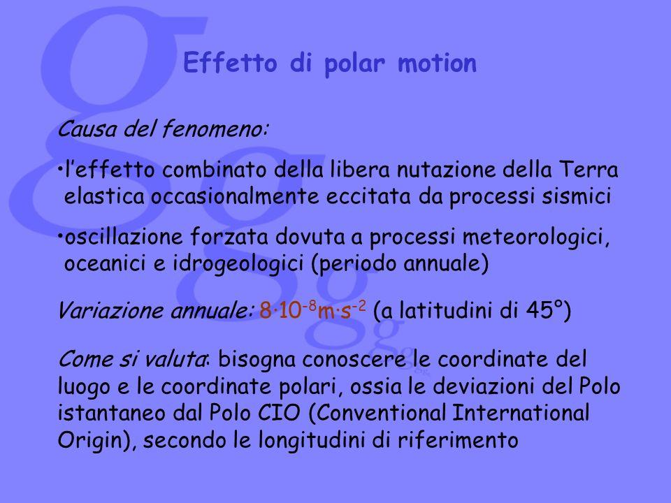 Effetto di polar motion Causa del fenomeno: leffetto combinato della libera nutazione della Terra elastica occasionalmente eccitata da processi sismic