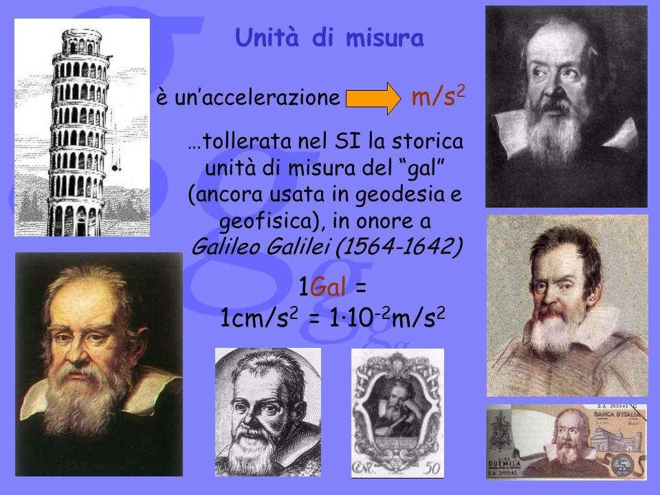 1Gal = 1cm/s 2 = 1·10 -2 m/s 2 …tollerata nel SI la storica unità di misura del gal (ancora usata in geodesia e geofisica), in onore a Galileo Galilei
