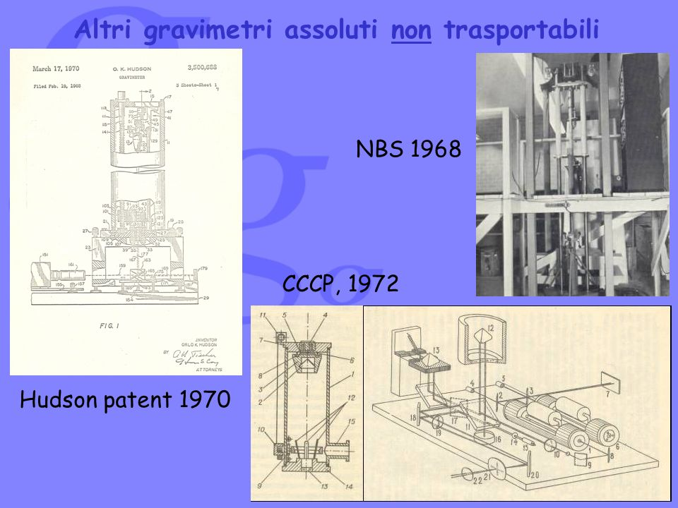 Altri gravimetri assoluti non trasportabili NBS 1968 CCCP, 1972 Hudson patent 1970
