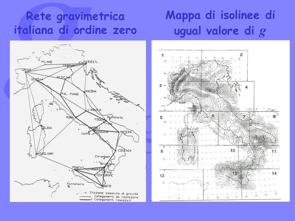 Rete gravimetrica italiana di ordine zero Mappa di isolinee di ugual valore di g