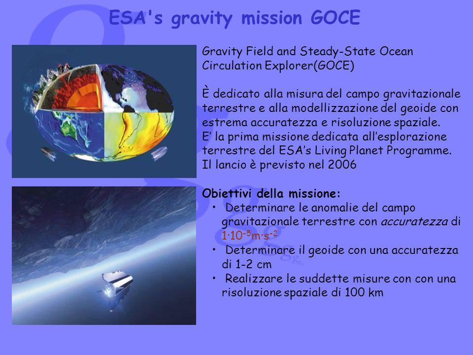 ESA's gravity mission GOCE Gravity Field and Steady-State Ocean Circulation Explorer(GOCE) È dedicato alla misura del campo gravitazionale terrestre e
