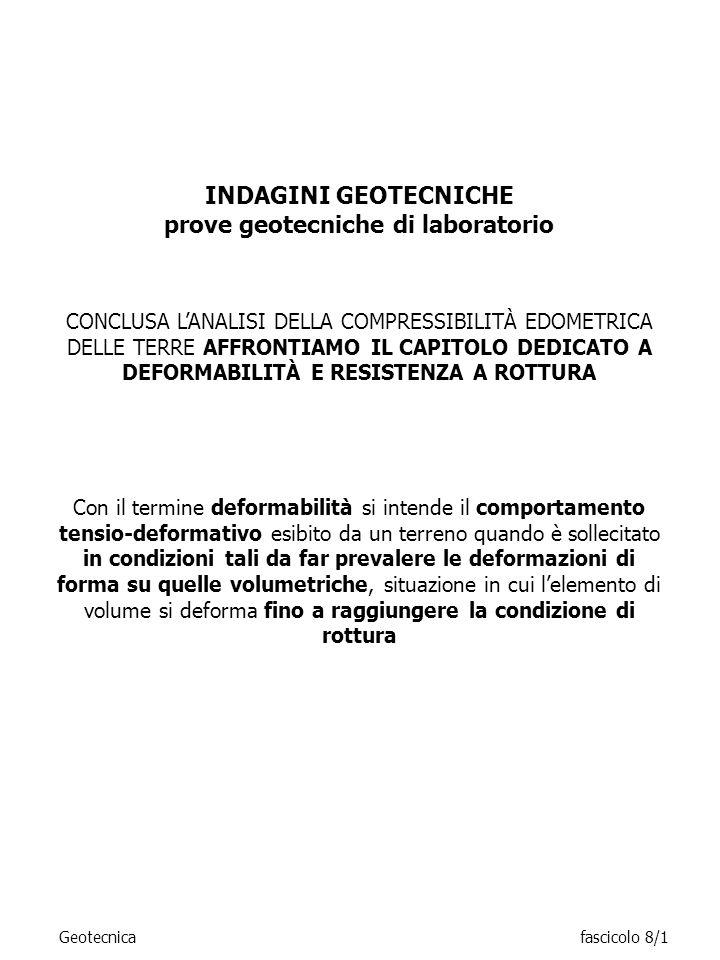 INDAGINI GEOTECNICHE prove geotecniche di laboratorio CONCLUSA LANALISI DELLA COMPRESSIBILITÀ EDOMETRICA DELLE TERRE AFFRONTIAMO IL CAPITOLO DEDICATO