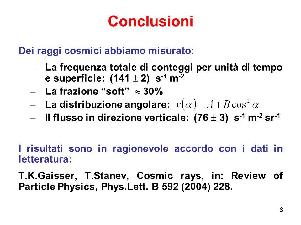 8 Conclusioni Dei raggi cosmici abbiamo misurato: –La frequenza totale di conteggi per unità di tempo e superficie: (141 2) s -1 m -2 –La frazione sof