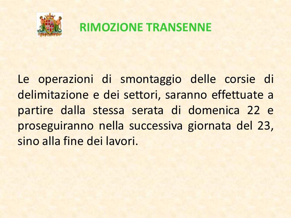 RIMOZIONE TRANSENNE Le operazioni di smontaggio delle corsie di delimitazione e dei settori, saranno effettuate a partire dalla stessa serata di domen