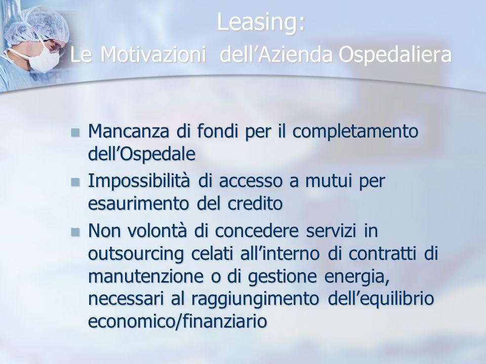Leasing: Le Motivazioni dellAzienda Ospedaliera Mancanza di fondi per il completamento dellOspedale Mancanza di fondi per il completamento dellOspedal