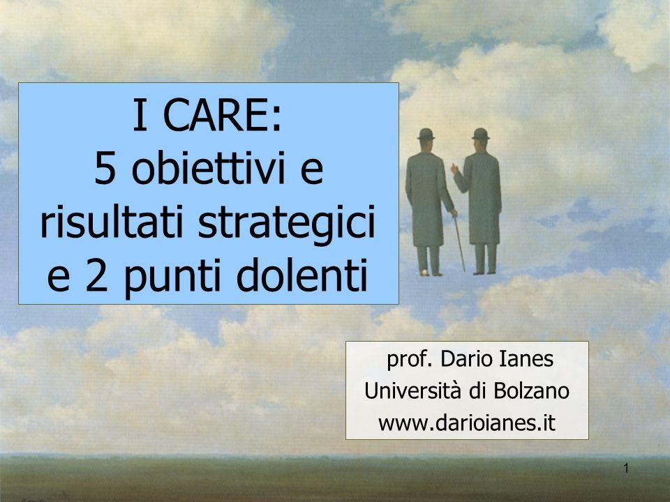 1 I CARE: 5 obiettivi e risultati strategici e 2 punti dolenti prof. Dario Ianes Università di Bolzano www.darioianes.it