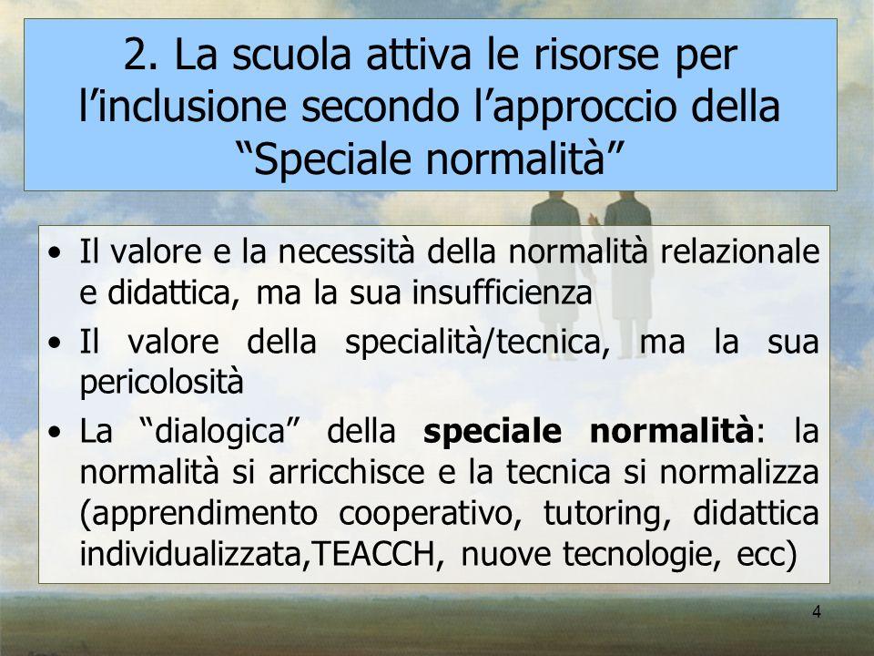 4 2. La scuola attiva le risorse per linclusione secondo lapproccio della Speciale normalità Il valore e la necessità della normalità relazionale e di