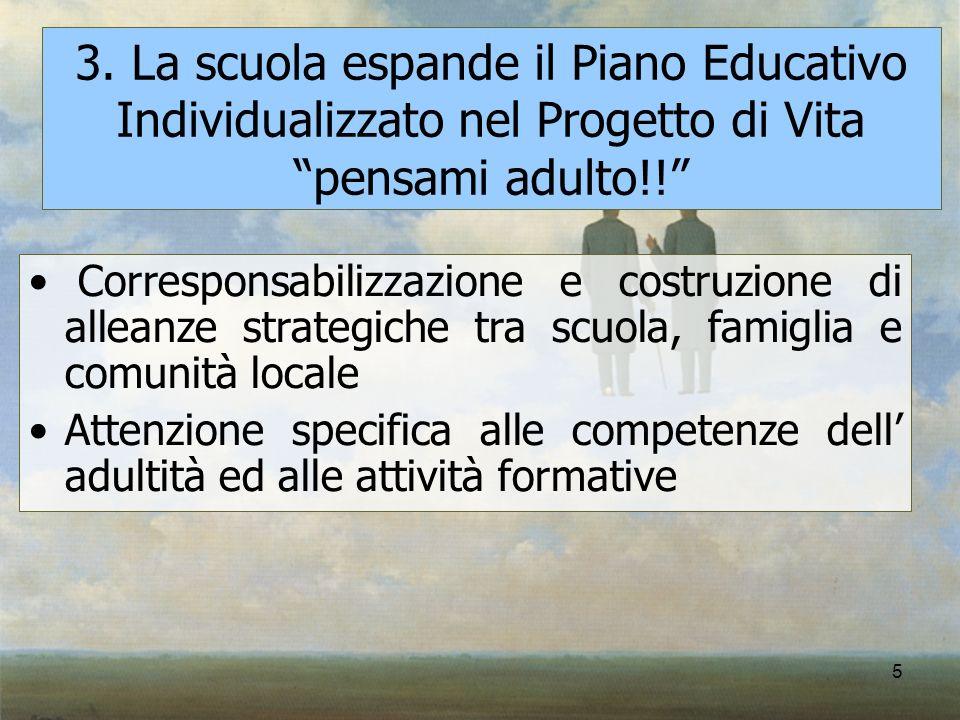 5 3. La scuola espande il Piano Educativo Individualizzato nel Progetto di Vita pensami adulto!! Corresponsabilizzazione e costruzione di alleanze str