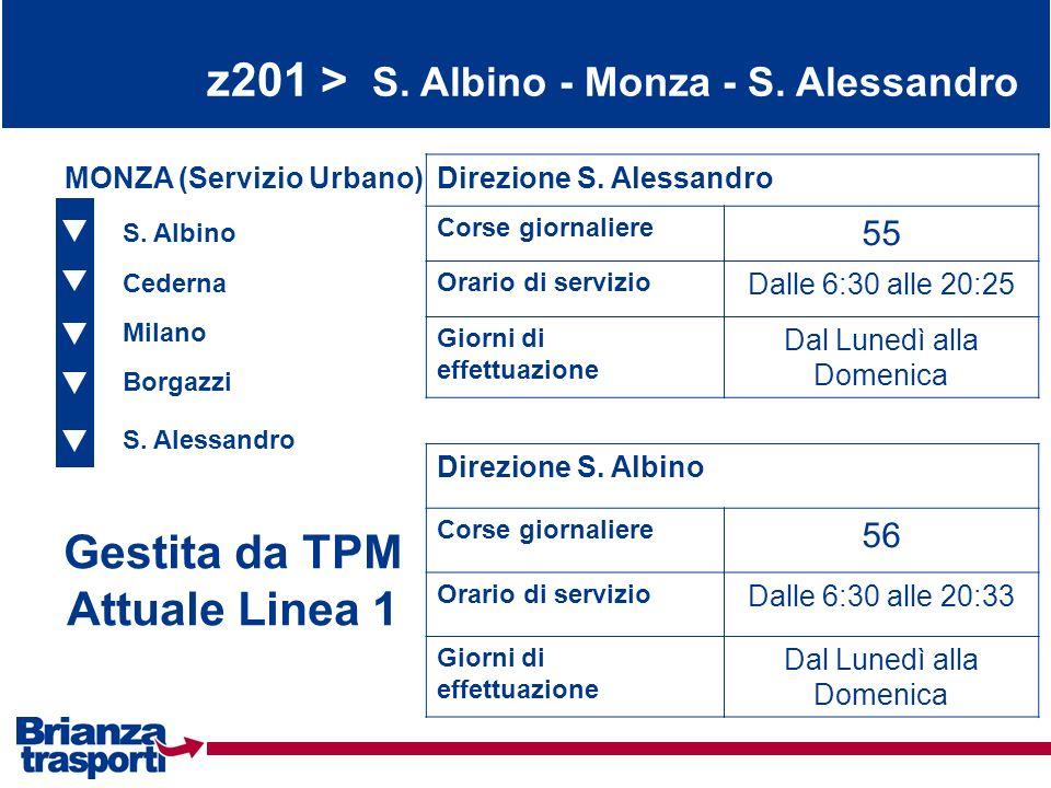 z201 > S. Albino - Monza - S. Alessandro S. Albino Cederna Milano Borgazzi S. Alessandro MONZA (Servizio Urbano)Direzione S. Alessandro Corse giornali