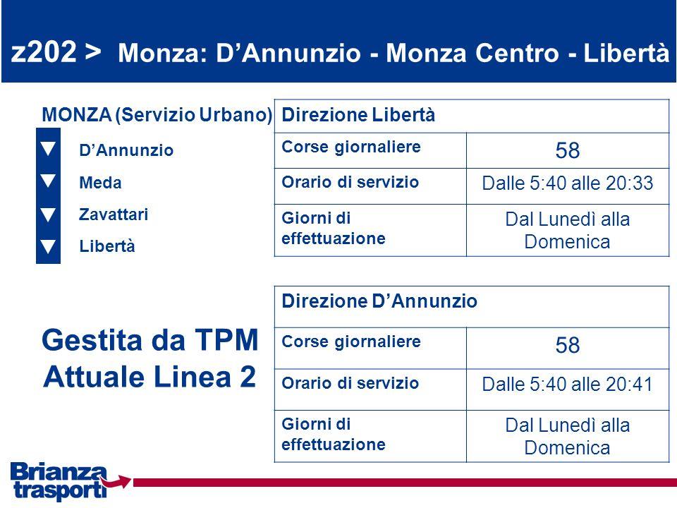 z202 > Monza: DAnnunzio - Monza Centro - Libertà DAnnunzio Meda Zavattari Libertà MONZA (Servizio Urbano)Direzione Libertà Corse giornaliere 58 Orario