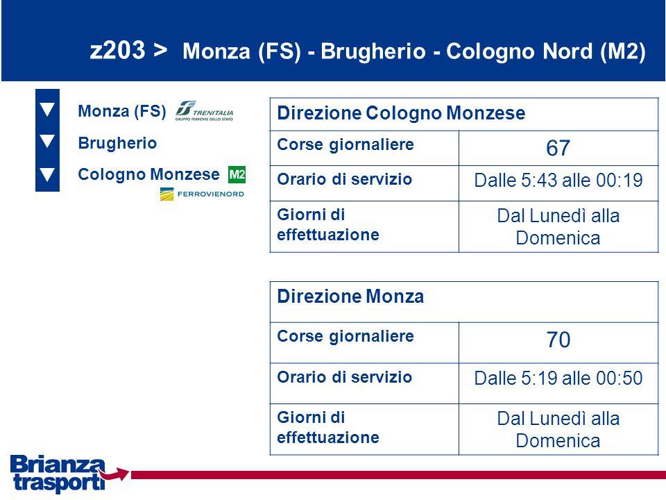 z203 > Monza (FS) - Brugherio - Cologno Nord (M2) Monza (FS) Brugherio Cologno Monzese Direzione Cologno Monzese Corse giornaliere 67 Orario di serviz