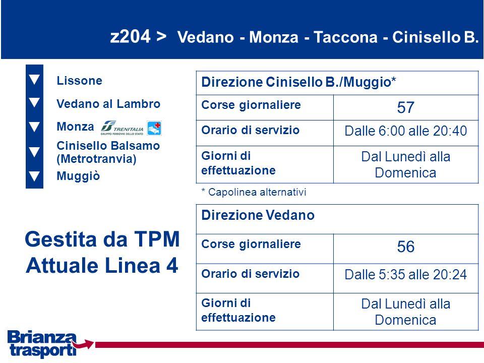 z204 > Vedano - Monza - Taccona - Cinisello B. Lissone Vedano al Lambro Monza Direzione Cinisello B./Muggio* Corse giornaliere 57 Orario di servizio D