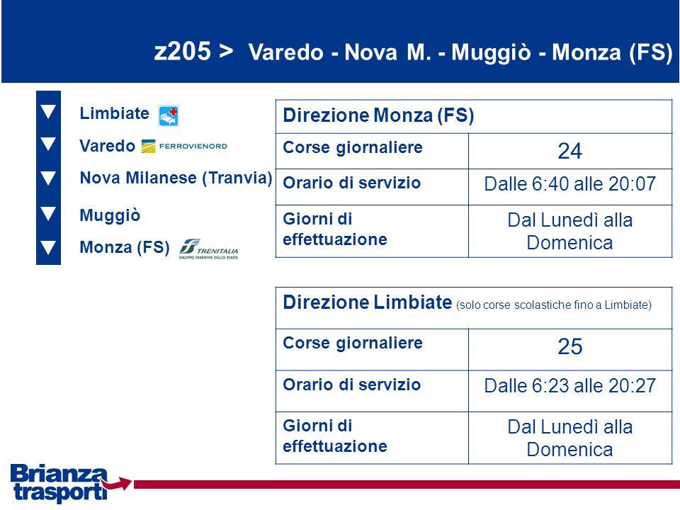 z205 > Varedo - Nova M. - Muggiò - Monza (FS) Limbiate Varedo Nova Milanese (Tranvia) Direzione Monza (FS) Corse giornaliere 24 Orario di servizio Dal