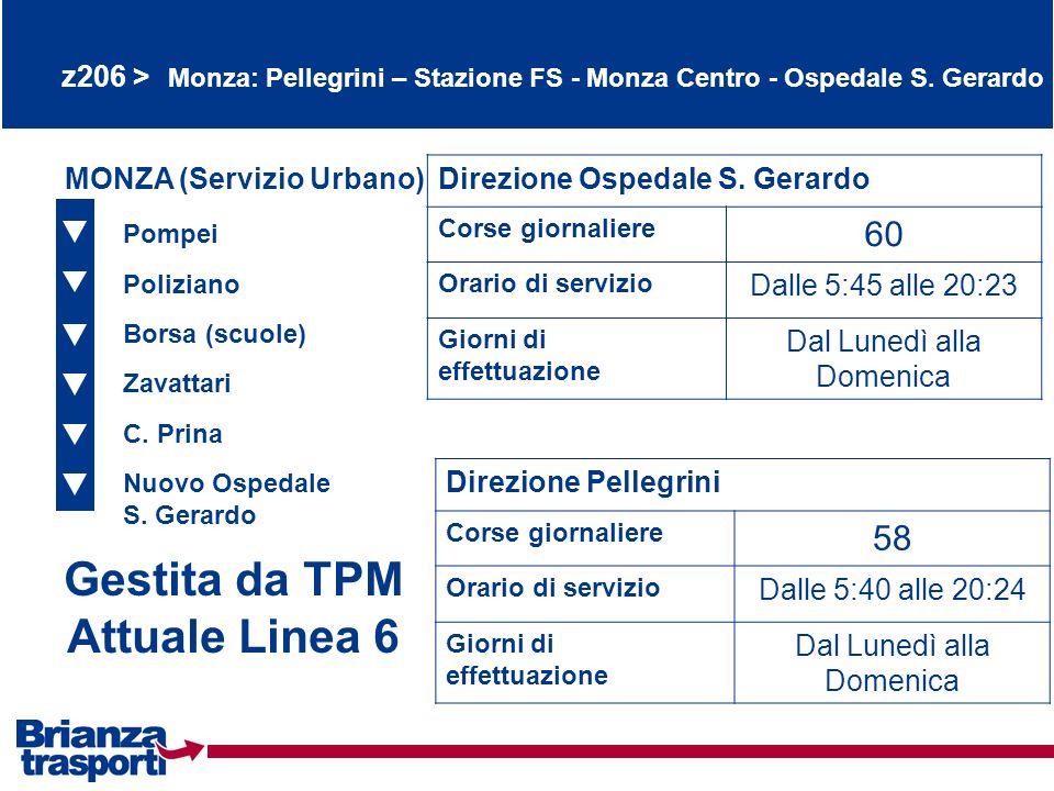 z206 > Monza: Pellegrini – Stazione FS - Monza Centro - Ospedale S. Gerardo Pompei Poliziano Borsa (scuole) Gestita da TPM Attuale Linea 6 Zavattari M