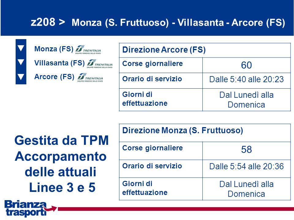 z208 > Monza (S. Fruttuoso) - Villasanta - Arcore (FS) Monza (FS) Villasanta (FS) Arcore (FS) Direzione Arcore (FS) Corse giornaliere 60 Orario di ser