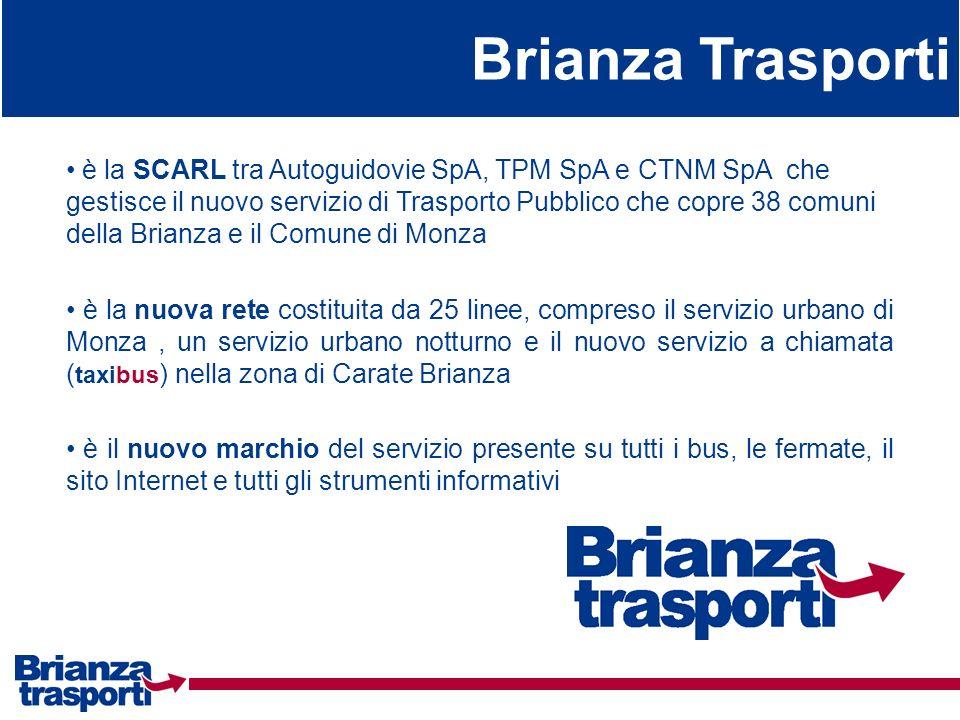 Brianza Trasporti è la SCARL tra Autoguidovie SpA, TPM SpA e CTNM SpA che gestisce il nuovo servizio di Trasporto Pubblico che copre 38 comuni della B