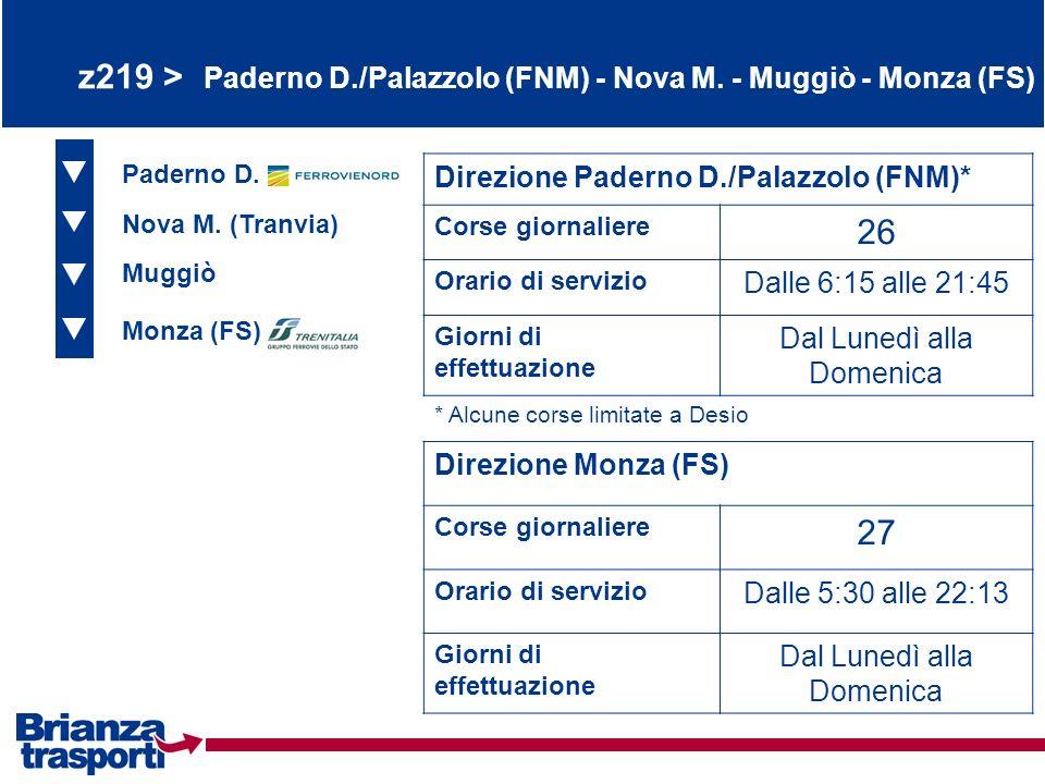 z219 > Paderno D./Palazzolo (FNM) - Nova M. - Muggiò - Monza (FS) Paderno D. Nova M. (Tranvia) Muggiò Direzione Paderno D./Palazzolo (FNM)* Corse gior