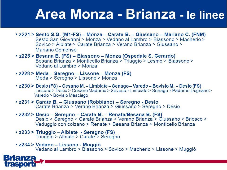 Area Monza - Brianza - le linee z221 > Sesto S.G. (M1-FS) – Monza – Carate B. – Giussano – Mariano C. (FNM) Sesto San Giovanni > Monza > Vedano al Lam