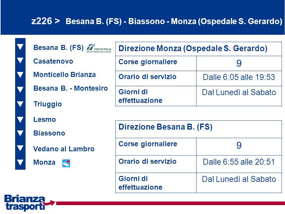 z226 > Besana B. (FS) - Biassono - Monza (Ospedale S. Gerardo) Besana B. (FS) Casatenovo Monticello Brianza Direzione Monza (Ospedale S. Gerardo) Cors