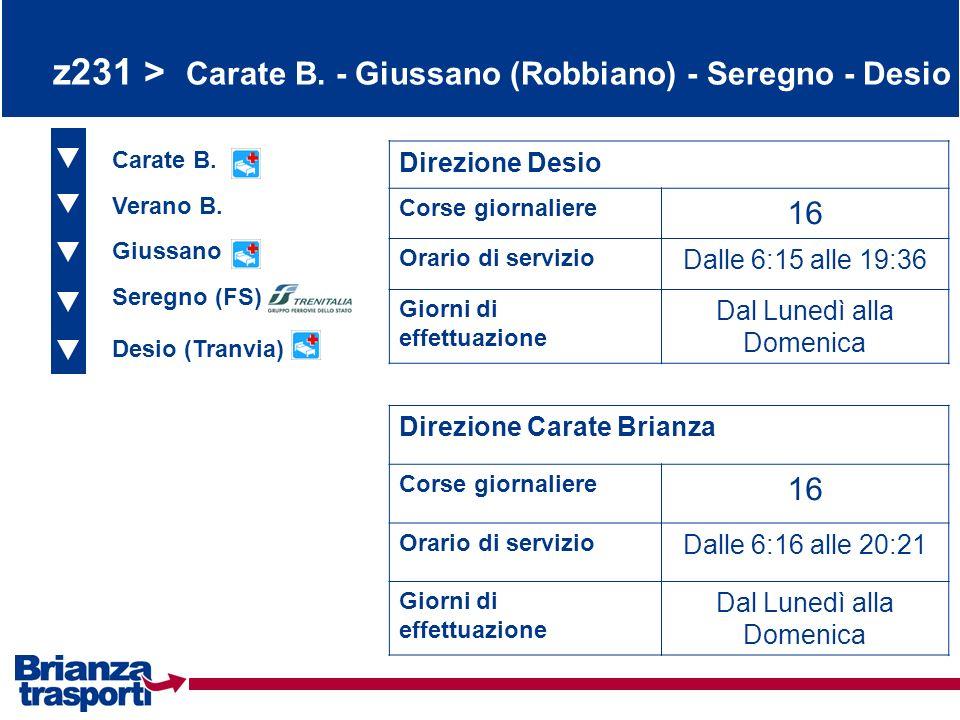 z231 > Carate B. - Giussano (Robbiano) - Seregno - Desio Carate B. Verano B. Giussano Direzione Desio Corse giornaliere 16 Orario di servizio Dalle 6:
