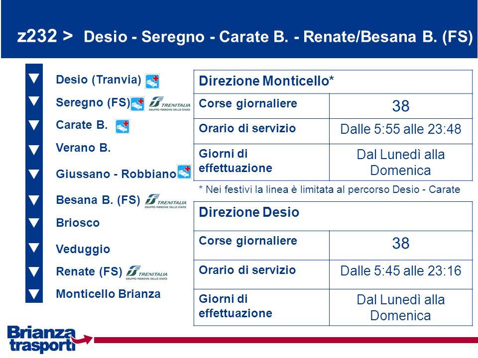 z232 > Desio - Seregno - Carate B. - Renate/Besana B. (FS) Desio (Tranvia) Seregno (FS) Carate B. Direzione Monticello* Corse giornaliere 38 Orario di