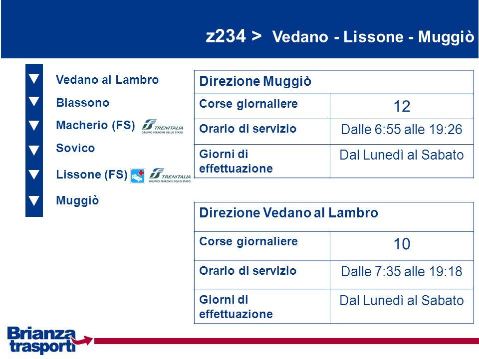 z234 > Vedano - Lissone - Muggiò Vedano al Lambro Biassono Macherio (FS) Direzione Muggiò Corse giornaliere 12 Orario di servizio Dalle 6:55 alle 19:2