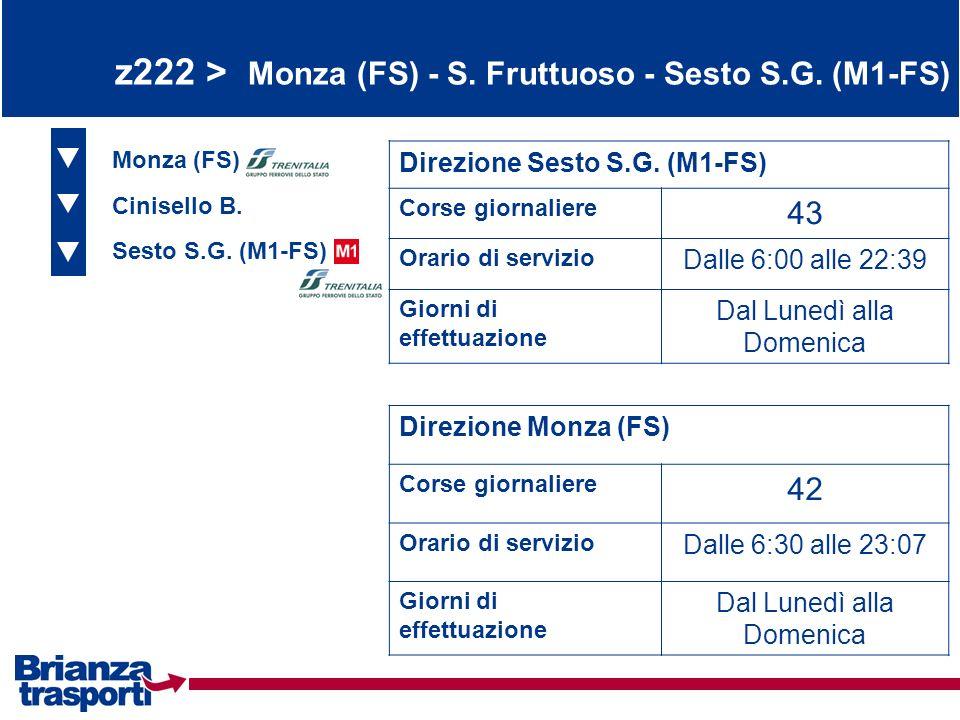 z222 > Monza (FS) - S. Fruttuoso - Sesto S.G. (M1-FS) Monza (FS) Cinisello B. Sesto S.G. (M1-FS) Direzione Sesto S.G. (M1-FS) Corse giornaliere 43 Ora