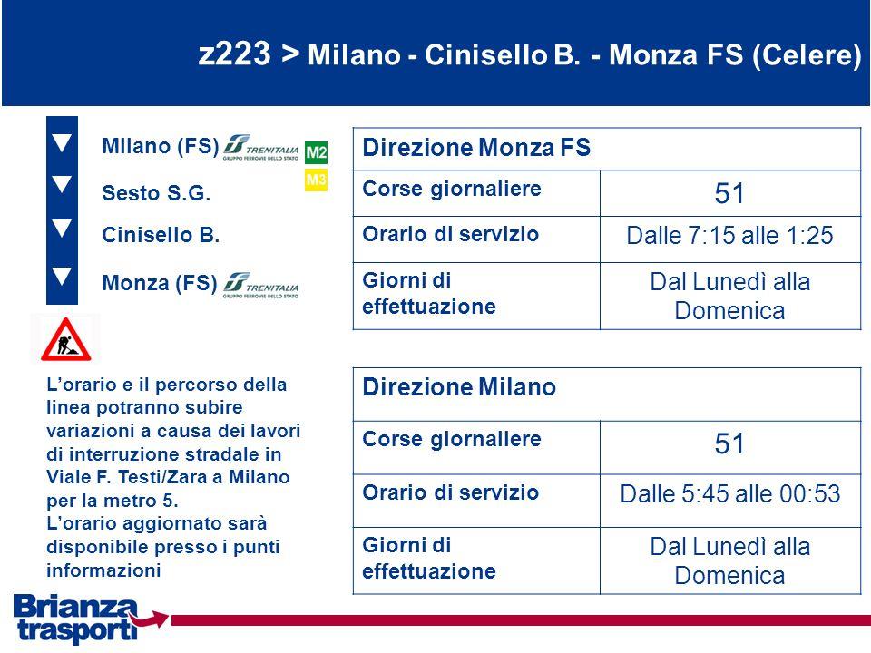 z223 > Milano - Cinisello B. - Monza FS (Celere) Monza (FS) Cinisello B. Sesto S.G. Direzione Monza FS Corse giornaliere 51 Orario di servizio Dalle 7