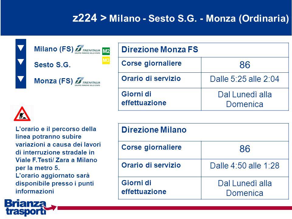z224 > Milano - Sesto S.G. - Monza (Ordinaria) Monza (FS) Sesto S.G. Direzione Monza FS Corse giornaliere 86 Orario di servizio Dalle 5:25 alle 2:04 G