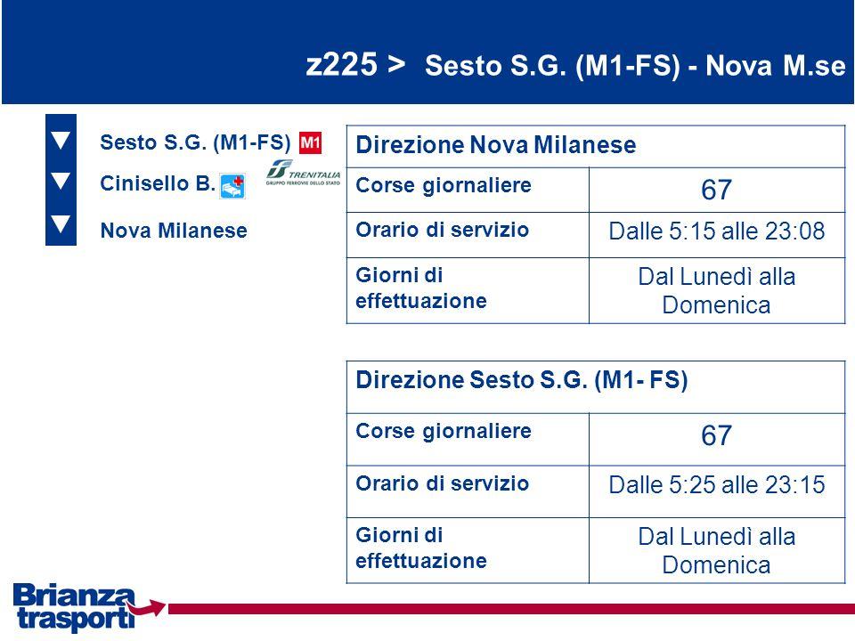 z225 > Sesto S.G. (M1-FS) - Nova M.se Sesto S.G. (M1-FS) Cinisello B. Nova Milanese Direzione Nova Milanese Corse giornaliere 67 Orario di servizio Da