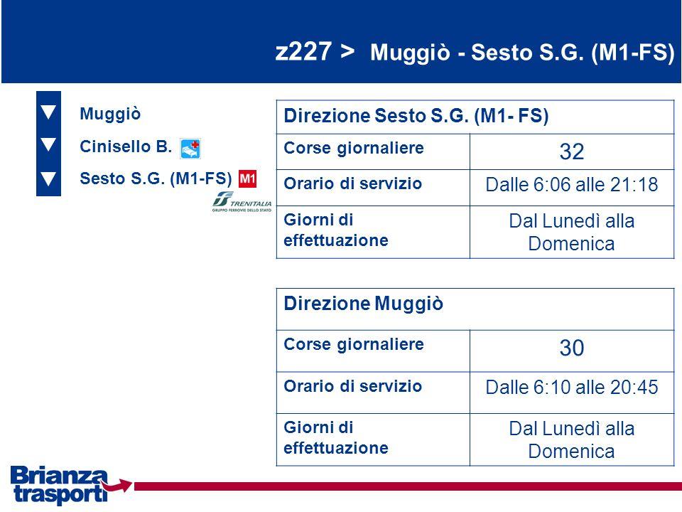 z227 > Muggiò - Sesto S.G. (M1-FS) Muggiò Cinisello B. Sesto S.G. (M1-FS) Direzione Sesto S.G. (M1- FS) Corse giornaliere 32 Orario di servizio Dalle
