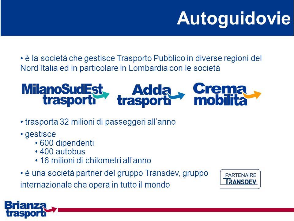 Autoguidovie è la società che gestisce Trasporto Pubblico in diverse regioni del Nord Italia ed in particolare in Lombardia con le società è una socie