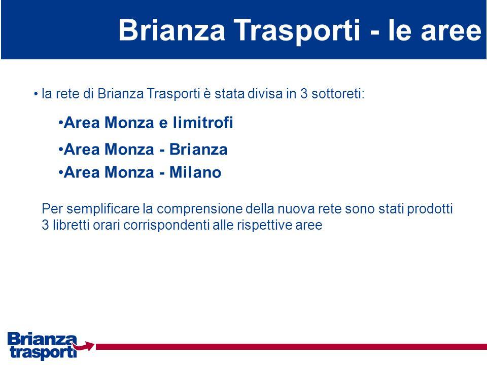 Brianza Trasporti - le aree la rete di Brianza Trasporti è stata divisa in 3 sottoreti: Per semplificare la comprensione della nuova rete sono stati p