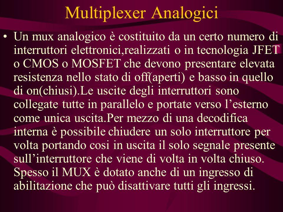 Multiplexer Analogici Un mux analogico è costituito da un certo numero di interruttori elettronici,realizzati o in tecnologia JFET o CMOS o MOSFET che