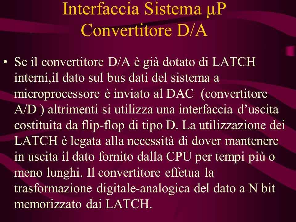 Interfaccia Sistema µP Convertitore D/A Se il convertitore D/A è già dotato di LATCH interni,il dato sul bus dati del sistema a microprocessore è inviato al DAC (convertitore A/D ) altrimenti si utilizza una interfaccia duscita costituita da flip-flop di tipo D.