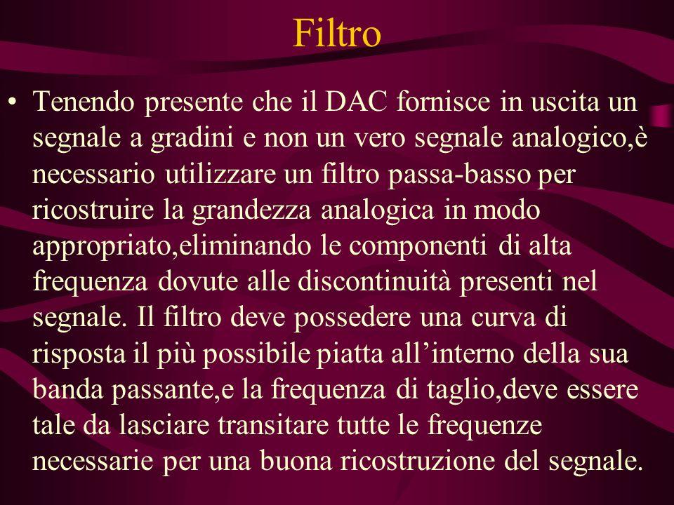 Filtro Tenendo presente che il DAC fornisce in uscita un segnale a gradini e non un vero segnale analogico,è necessario utilizzare un filtro passa-bas