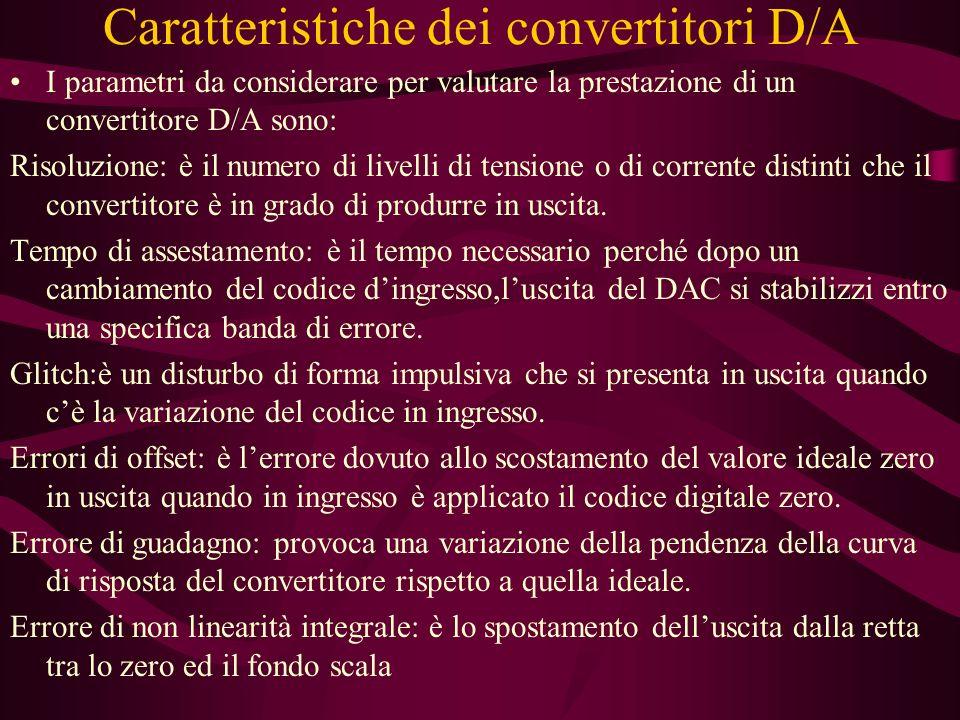 Caratteristiche dei convertitori D/A I parametri da considerare per valutare la prestazione di un convertitore D/A sono: Risoluzione: è il numero di livelli di tensione o di corrente distinti che il convertitore è in grado di produrre in uscita.
