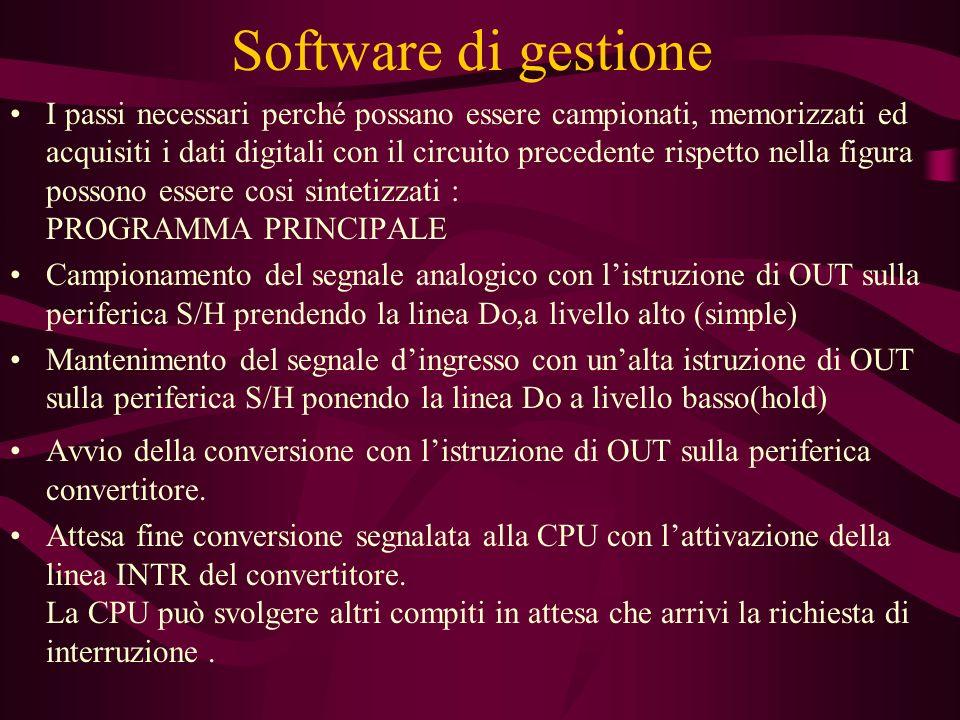 Software di gestione I passi necessari perché possano essere campionati, memorizzati ed acquisiti i dati digitali con il circuito precedente rispetto