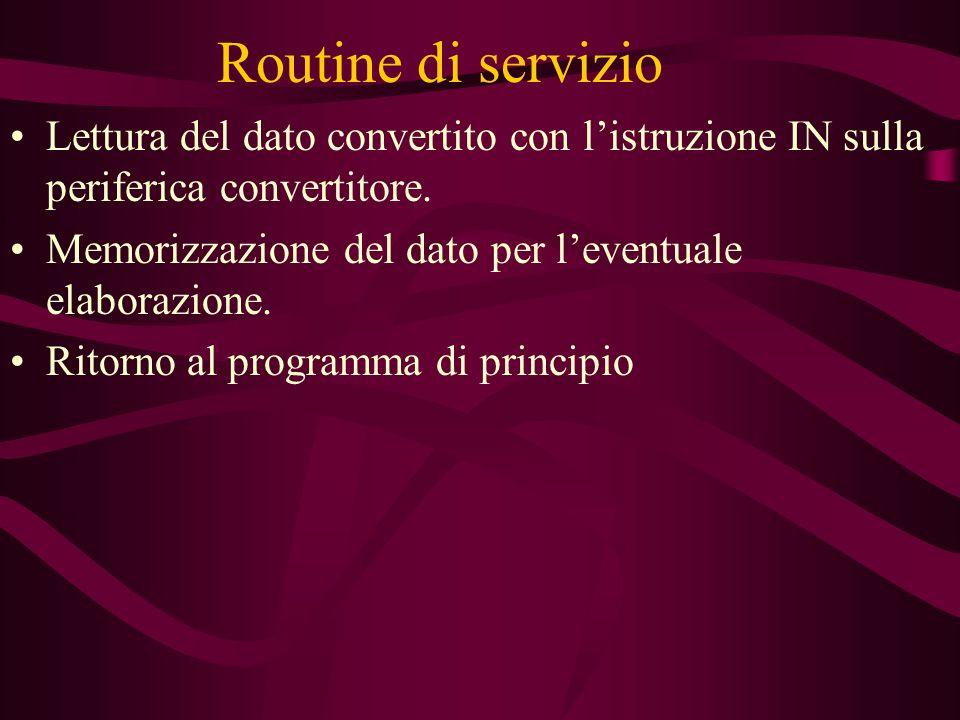 Routine di servizio Lettura del dato convertito con listruzione IN sulla periferica convertitore. Memorizzazione del dato per leventuale elaborazione.